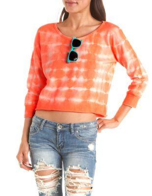 orange tie dye french terry sweatshirt with scoop neckline & rolled hem #TieDye #Clothes #Fashion #Clothing #Sweatshirt