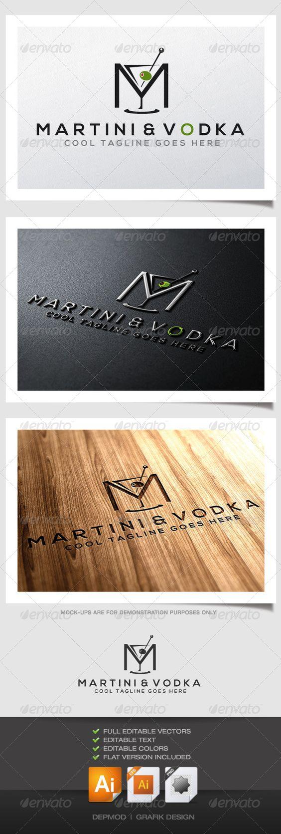 Martini & Vodka - Logo Design Template Vector #logotype Download it here: http://graphicriver.net/item/martini-vodka-logo/4577682?s_rank=893?ref=nexion