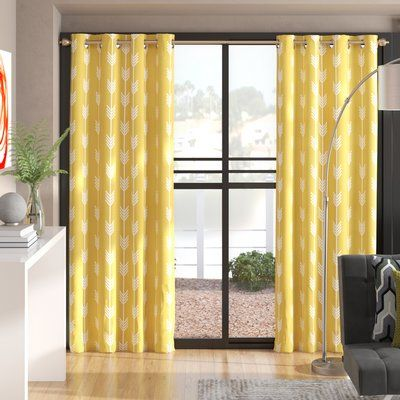 Brayden Studio Exmore Striped Semi Sheer Thermal Grommet Curtain Panels Colour Yellow Size Per Panel 52 W X 96 L In 2020 Grommet Curtains Panel Curtains Curtains