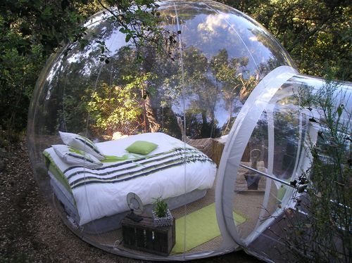Outdoor camping bubble in Marseille France.