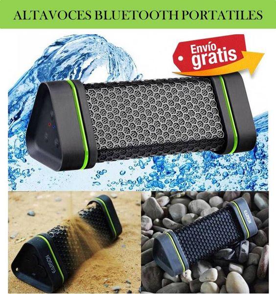 Altavoces portatiles bluetooth impermeables, resistentes al agua y a los golpes. Altavoces para móviles, tablets y ordenador PC.