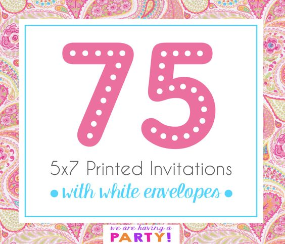 75, 5x7 Invitations with White Enveloeps Professionally Printed by WeAreHavingaParty on Etsy https://www.etsy.com/listing/262923407/75-5x7-invitations-with-white-enveloeps