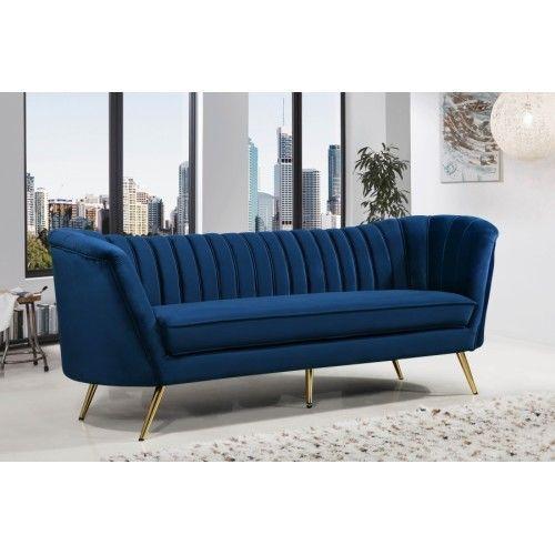 Royal Blue Velvet Channel Tufted Sofa Gold Legs Gold Sofa Tufted Sofa Sofa