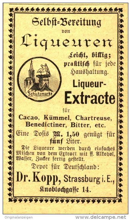 Original-Werbung/ Anzeige 1894 - LIQEUR- EXTRACTE DR. KOPP / STRASSBURG - ca. 50 x  80 mm