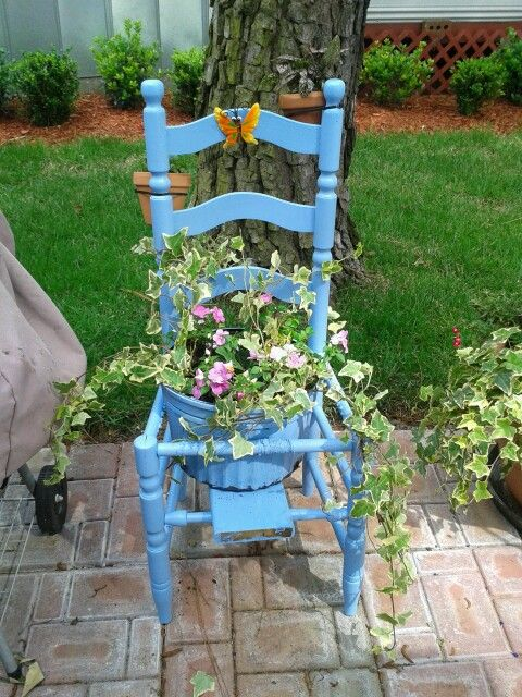 old chair turned planter