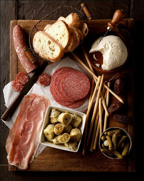 I so want to do a hospitality meal like this. Meats, cheeses, bread. Simple + delicious.