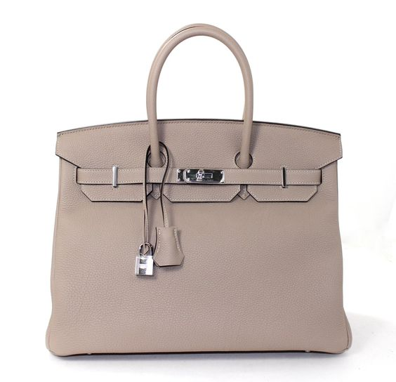 faux ostrich purse - Hermes Birkin in size 35cm Gris Tourterelle Togo Grey Color ...