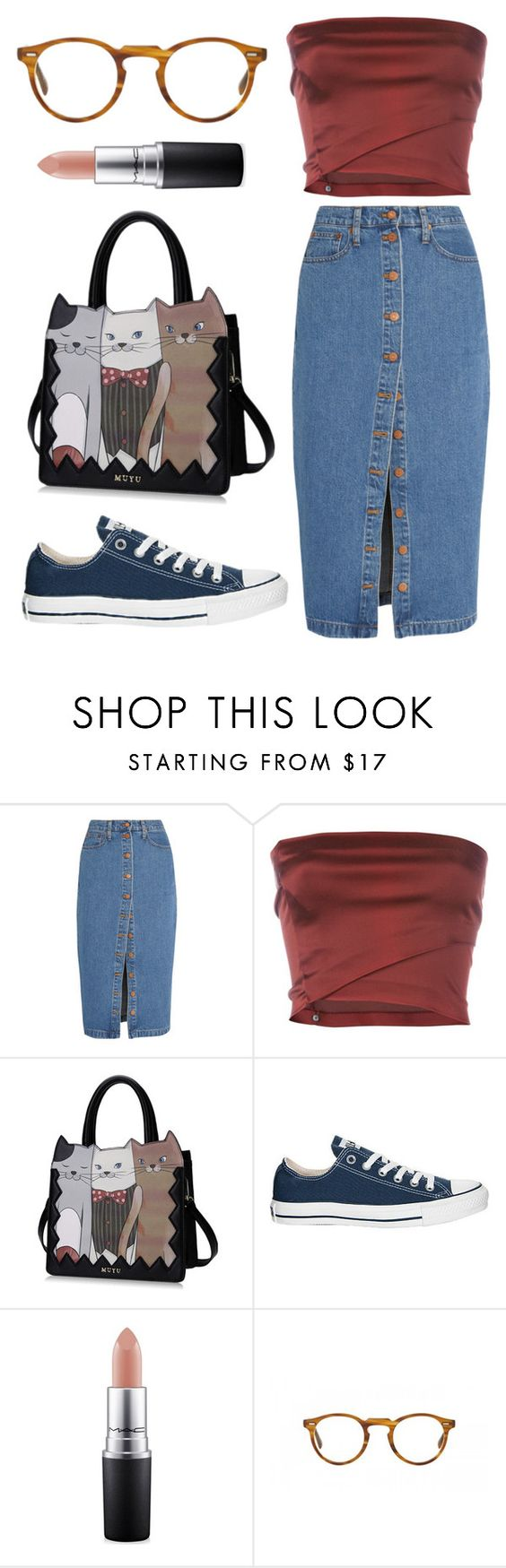 """""""Untitled #245"""" by dion-balalas ❤ liked on Polyvore featuring Madewell, Romeo Gigli, Converse, MAC Cosmetics and Oliver Peoples"""