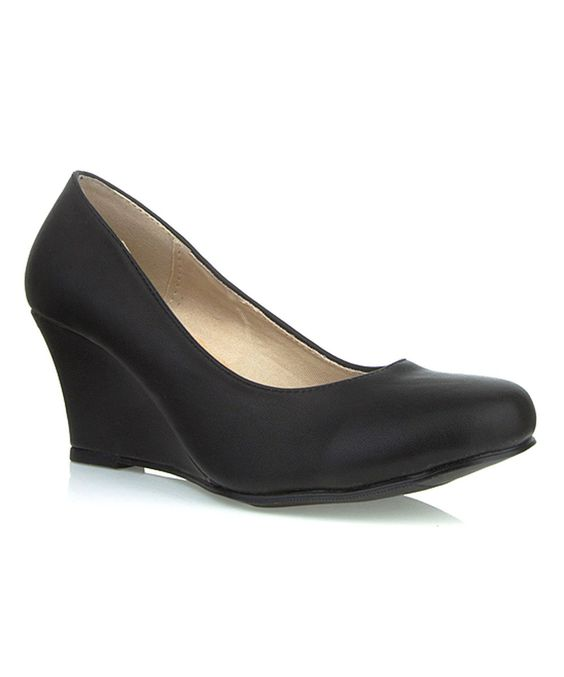 Ssh-oes Black Rachel Wedge by Ssh-oes #zulily #zulilyfinds