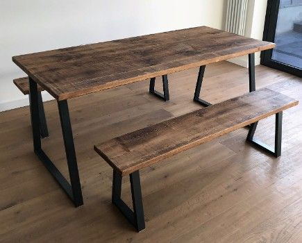 Industrial Tapered Steel And Rustic Wood Dining Set Table Two Benches Dining Table With Bench Kitchen Table Bench Industrial Dining Table