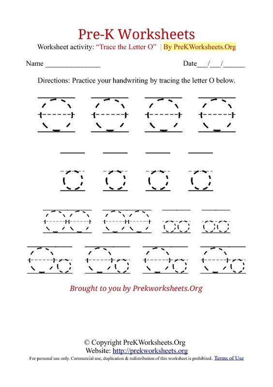 o tracing sheet PreK Worksheets Alphabet Tracing – O Worksheets for Kindergarten