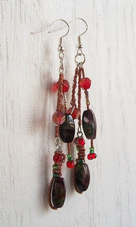 Lampworked Glass Copper Wrapped Red & Green by VenganzyJewelry, $13.00