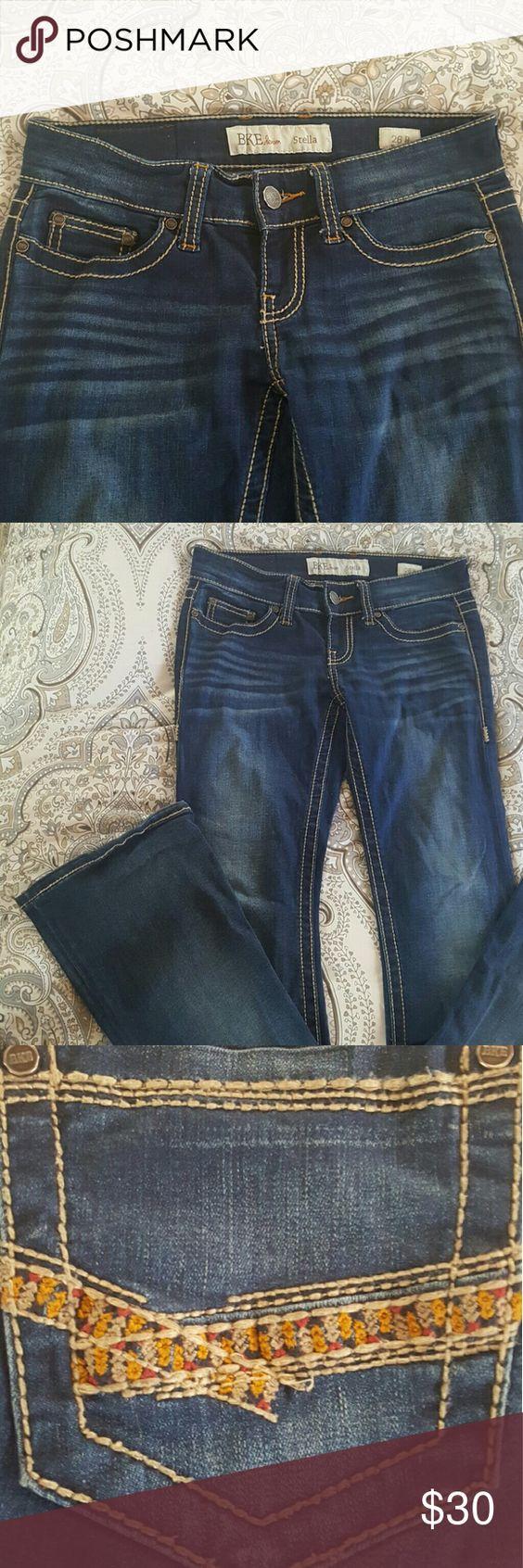 BKE Denim Stella Dark blue wash with super cute flower embroidery on back pockets BKE Jeans Flare & Wide Leg