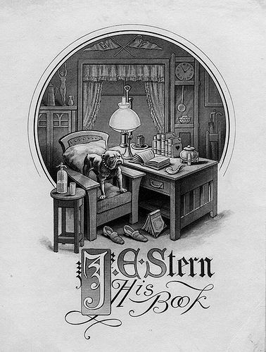 Bookplate of J.E. Stern   Description: States, 'J.E. Stern - His Book;' depicts a man's room, with a bulldog, books, and Harvard and Yale pennants. Unsigned.     Format: 1 print, b&w, 13 x 9 cm.     Source: Pratt Institute Libraries, Special Collections 998 (sc00067)     Pratt Libraries Website  For inquiries regarding permissions and use fees, please contact: rightsandrepro.library@pratt.edu.