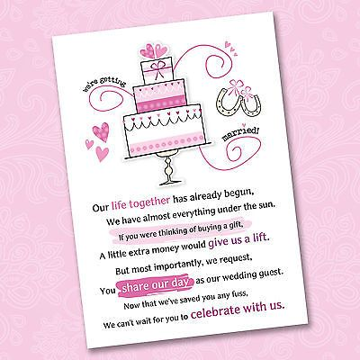 Details About 25 X Wedding Poem Cards For Your Invitations