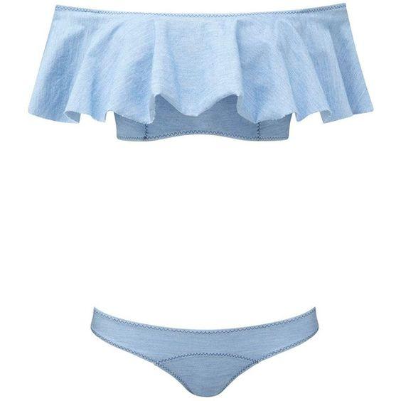 Lisa Marie Fernandez Mira Denim Bandeau Bikini ($400) ❤ liked on Polyvore featuring swimwear, bikinis, bikini, swim, beach, blue, all swim, kirna zabete, bandeau tops and bandeau swim tops