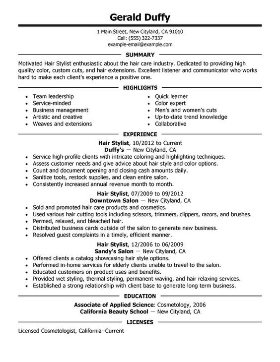 Resume Example For Hair Stylist Assistant