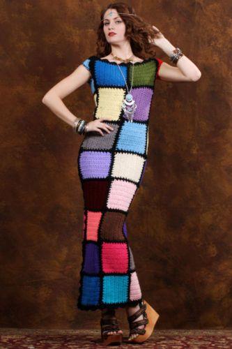 Vintage-Afghan-Hand-Crochet-Macrame-Granny-Squares-Boho-Hippie-Gypsy-Maxi-Dress