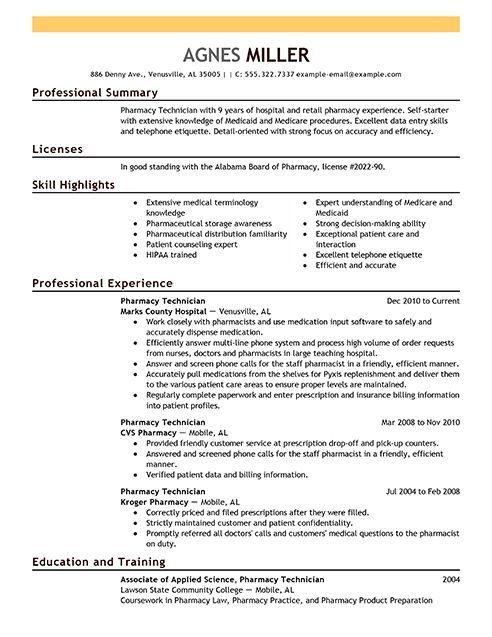 Pharmacy technician License \ Resume - http\/\/resumesdesign - pharmacy student resume