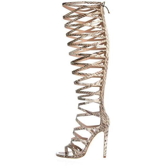 River Island Beige snake print caged high leg heels ($180 ...