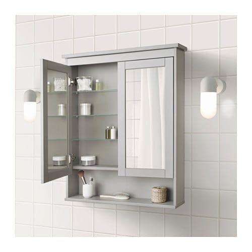 Hemnes Mirror Cabinet With 2 Doors Black Brown Stain 32 5 8x6 1 4x38 5 8 Ikea Mirror Cabinets Ikea Hemnes Mirror Trendy Bathroom