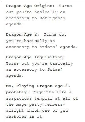"Lol. ""squints like a suspicious templar."" Dragon Age"