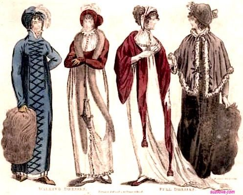 1804 Four Ladies In Dresses. Left are plainer walking dresses and right are full dresses with a train on the white dress and a fur cape and muff on the other. via Lady's Monthly Museum. suzilove.com: