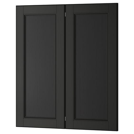 Laxarby 2 p door corner base cabinet set black brown for Black kitchen base cabinets