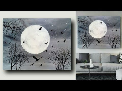 Moonlight Night Acrylic Painting On Canvas For Beginners Black And White Art Youtube Canvas Painting Diy Canvas Painting Acrylic Painting Canvas