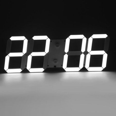 Modern Led Skeleton Wall Clock Timer 24 12 3d Hour Display Alarm Clock White Timer Clock Wall Clock Digital Alarm Clock