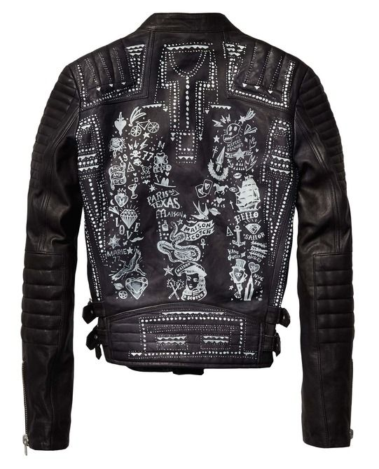 leather biker jacket with rock 39 n roll illustration womens clothing jackets at maison scotch. Black Bedroom Furniture Sets. Home Design Ideas