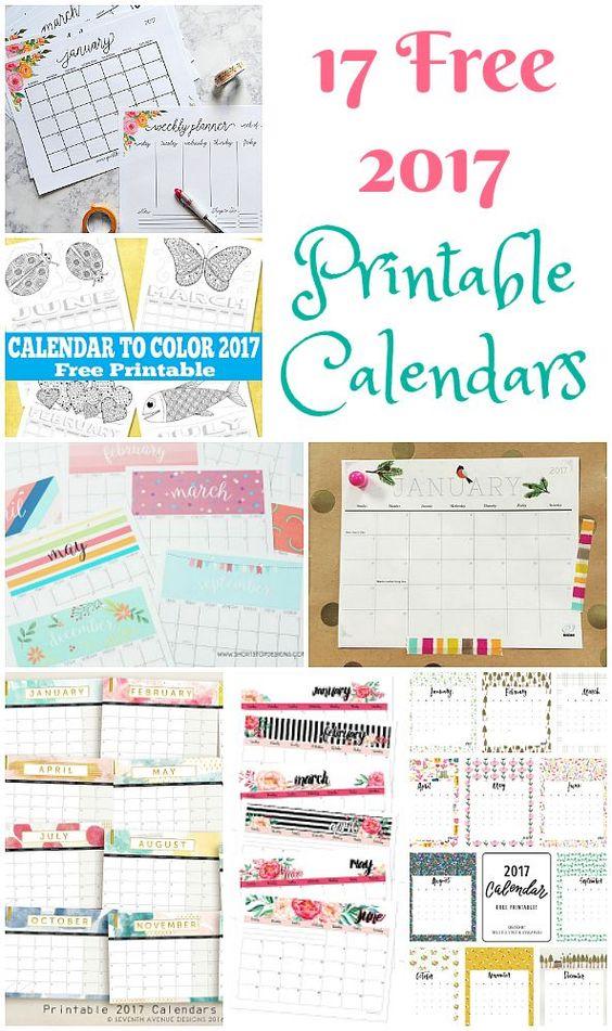 17 Free Printable 2017 Calendars - The Suburban Mom