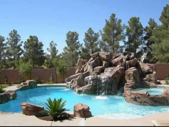 Freeform tropical pool with spa slide waterfall for Tropical pools