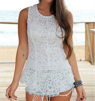Camisola Bordado Pré- venda do verão Mulheres Casual Lace Vest Top Tees Preto e Branco Blusa Crochet Floral Tees For Ladies