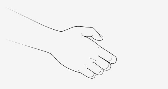 Vẽ bàn tay phía trước lúc bắt tay