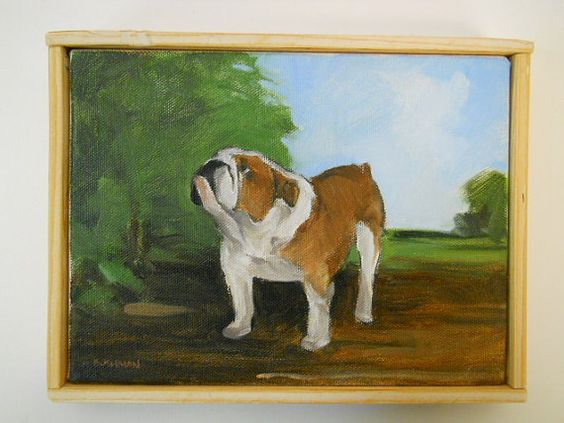 Original dog painting of a Bulldog with landscape by BushmanStudio
