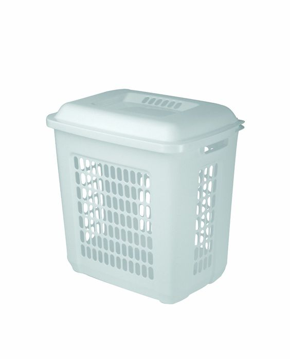 United Solutions LN0023 One and a Half Bushel White Laundry Hamper With Lid-1.5 Bushel Lid and Hamper in White