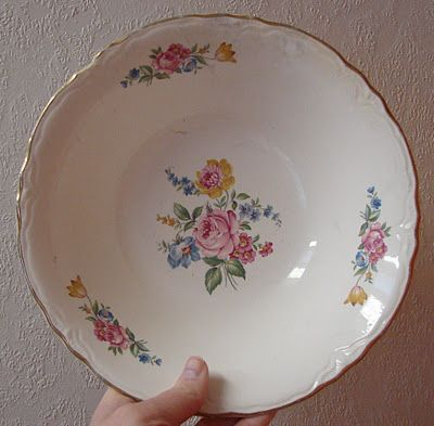 "My Grandma had these dishes . . . the blogger who shared this photo says that . . . ""Someone once told me that dishes in this pattern were grocery store premiums back in the 40's and 50's.  You received a dish each time you spent a certain amount of money or bought certain products."""