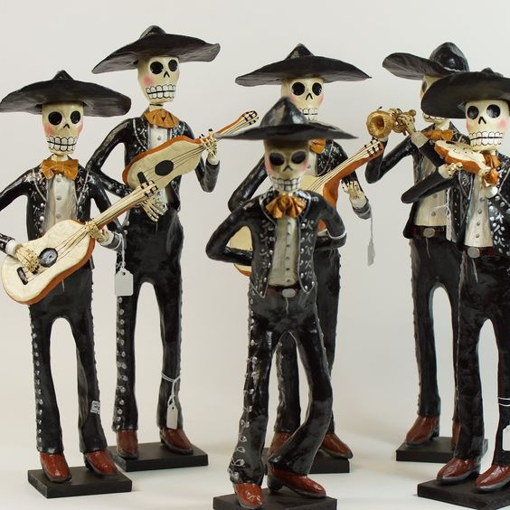"Paper Mache Day of the Dead Mariachis, 19"" Tall"