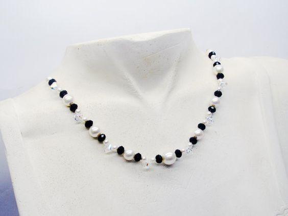 Wedding necklace swarovski collier cristal perles par murielcrea