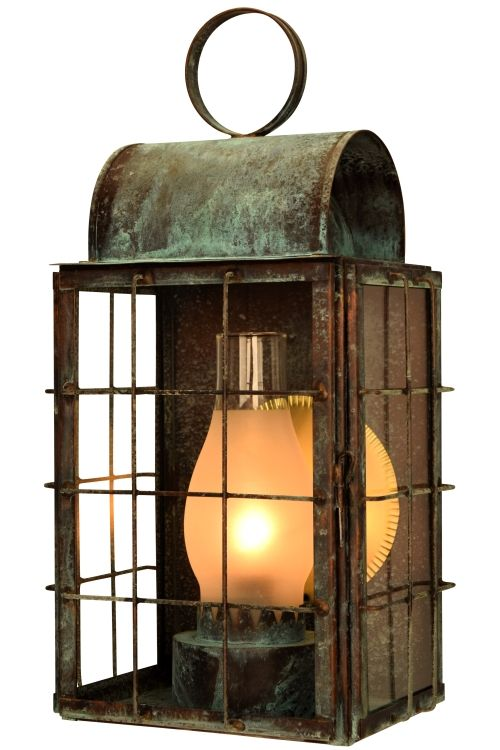 Newport Harbor Wall Sconce: Nautical outdoor copper lantern handmade in the USA from solid copper and brass making it ideal for Lakefront and Beachfront homes. Shown here in Verdi Green finish with Clear Glass this rustic wall light is available in your choice of seven hand applied finishes and four styles of glass to make it easy to create a lighting fixture that is as unique as your home.