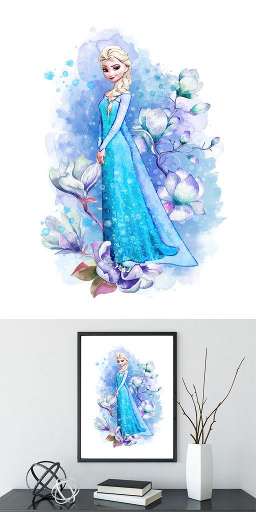 Frozen Elsa Print Frozen Disney Frozen Wall Decor Frozen Watercolor Frozen Art Print Frozen Wall Decor Disney Frozen Art Frozen Painting Disney Paintings