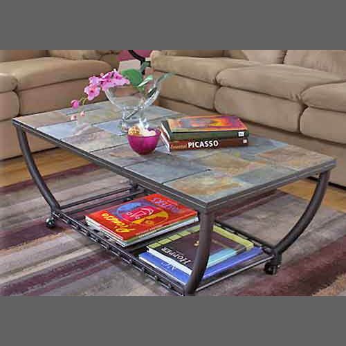 Slate Tile coffee table has matching end table too Decorative