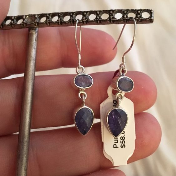 "NWT! Amethyst and silver earrings New with tags! Amethyst and .925 silver earrings. Measures 1"" Jewelry Earrings"