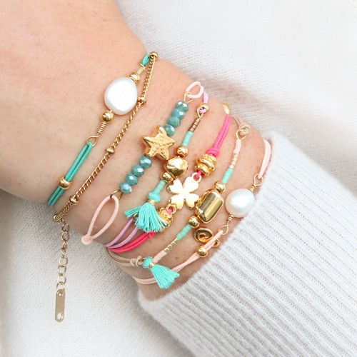 Summery Bracelets With Coloured Elastic Cord And Colourful Beads Ankle Bracelets Diy Cord Bracelet Diy Beaded Bracelets Diy