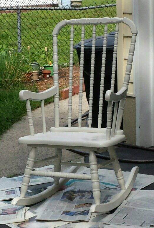 Just finished spray painting an old rocking chair that was in my attic for over 20  years! It was so old and ugly but not anymore! It is so awesome what a little paint can do!