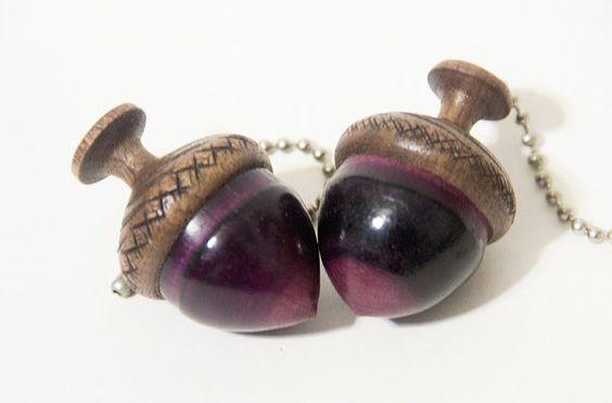 Purpleheart Wooden Acorn Fan Pulls (2 Pulls) - light pull chain - acorn fan pulls - purpleheart