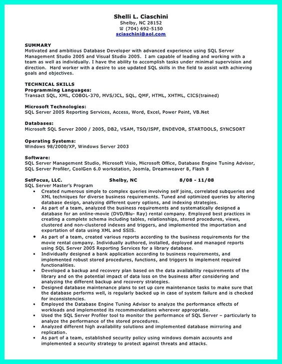 Database Developer Resume 16 fields related to sql database developer Database Developer Resume Here Can Be Used By Professionals To Prove Their Skills And Track Record