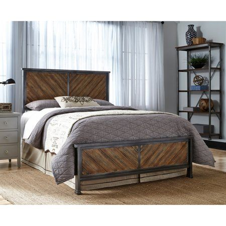 Braden Complete Metal Bed And Steel Support Frame With Rustic
