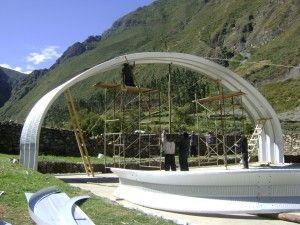 SteelMaster S-Model 50′ wide x 18′ high x 66′ long metal storage building in Huancahuasi, Peru